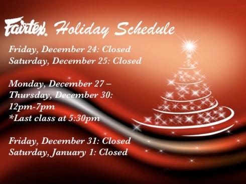 Fairtex USA Holiday Hours